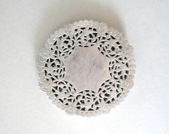 50 Silver Metallic Paper Doilies, Silver Foil Paper Doilies, 4 inch