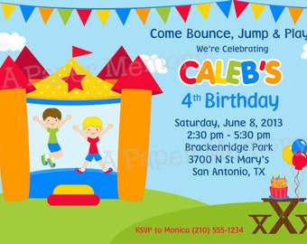 Bounce House (Boys) Birthday Invitation - DIY Printable