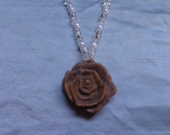 Soapstone Pendant Necklace by Artrix Leather and Fine Art- Rose Pendant with Beaded Necklace