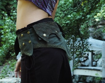 Laced Pixie Pocket Belt (Green) - Handmade Cotton and Lace Festival Gypsy Hippie Fairy Psytrance Bohemian Nomadic Desert Fanny Pack Hip Bag