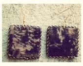 Navy Blue tye-dye fabric unique square shaped handmade earrings