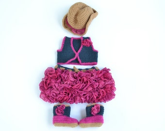 Handmade crochet baby girl cowgirl set; cowgirl hat; vest; ruffle skirt; cowgirl boots; roses; baby shower gift; baby photography prop