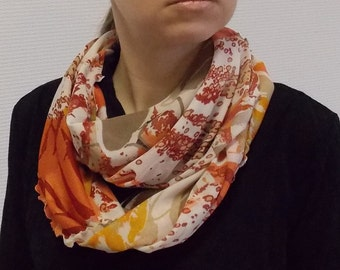 Infinity scarf - Circle scarf for women - circle scarves - scarf with flowers