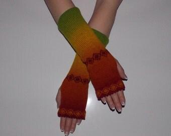 KAUNI Women Knit Arm Warmers  with ornaments, Fingerless Gloves, Knitted FAIRISLE Mittens.