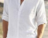 Free shipping/Man white linen shirt beach wedding party special occasion birthday summer - Maliposhaboys
