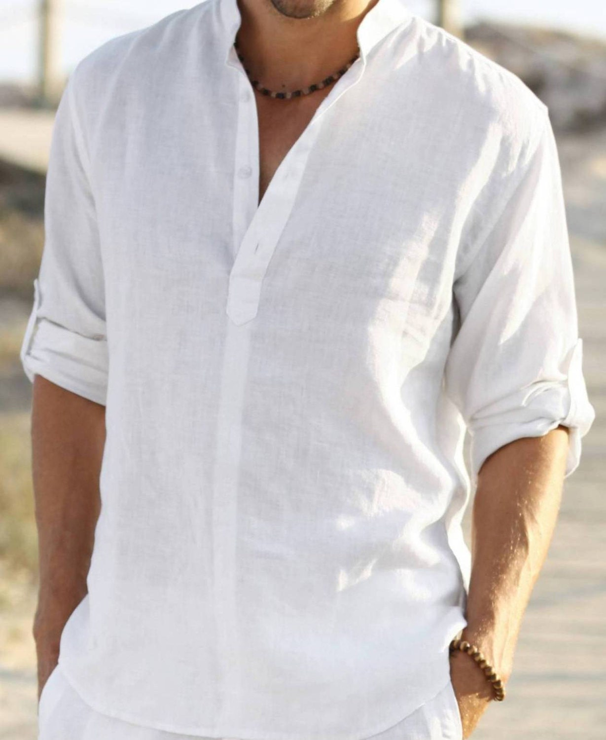 Man white linen shirt beach wedding party special by for Wedding dress shirts for groom
