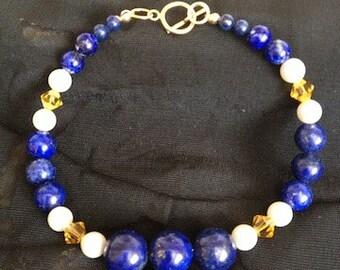 Lapis Lazuli and Swarovski Pearl Bracelet