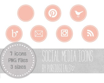 Pink Social Media Icons, Pink Blog Buttons, Cute Social Media Buttons, Pink Blog Icons, Website Icons