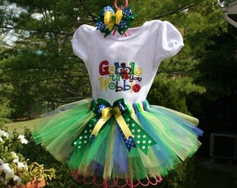 gobble till you wobble Tutu set with hair bow and bow for tutu