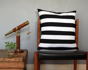 Black and White Cabana Stripe Pieced Pillow