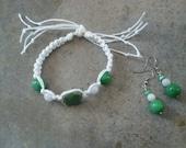 SALE ITEM, Green Square Porcelain, Jewelry Set, Christmas Gift, Rainbow Moonstone, Green Kunzite, Gemstones,Hemp Bracelet, Matching Earrings