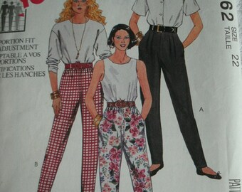 Misses Pants for Stretch Knits Only Size 22 McCalls Pattern 6062 Made For You Pants with Proportion Fit, Hip Adjustment NEW UNCUT  1992