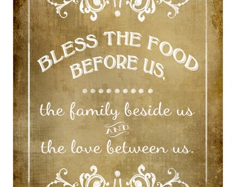 Bless The Food Before Us-Blessing wedding sign - FOUR sizes - instant download digital file - Victoria Vintage Collection