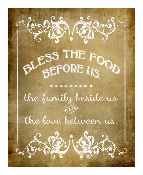 Bless The Food Before Us-Blessing Wedding Sign FOUR Sizes