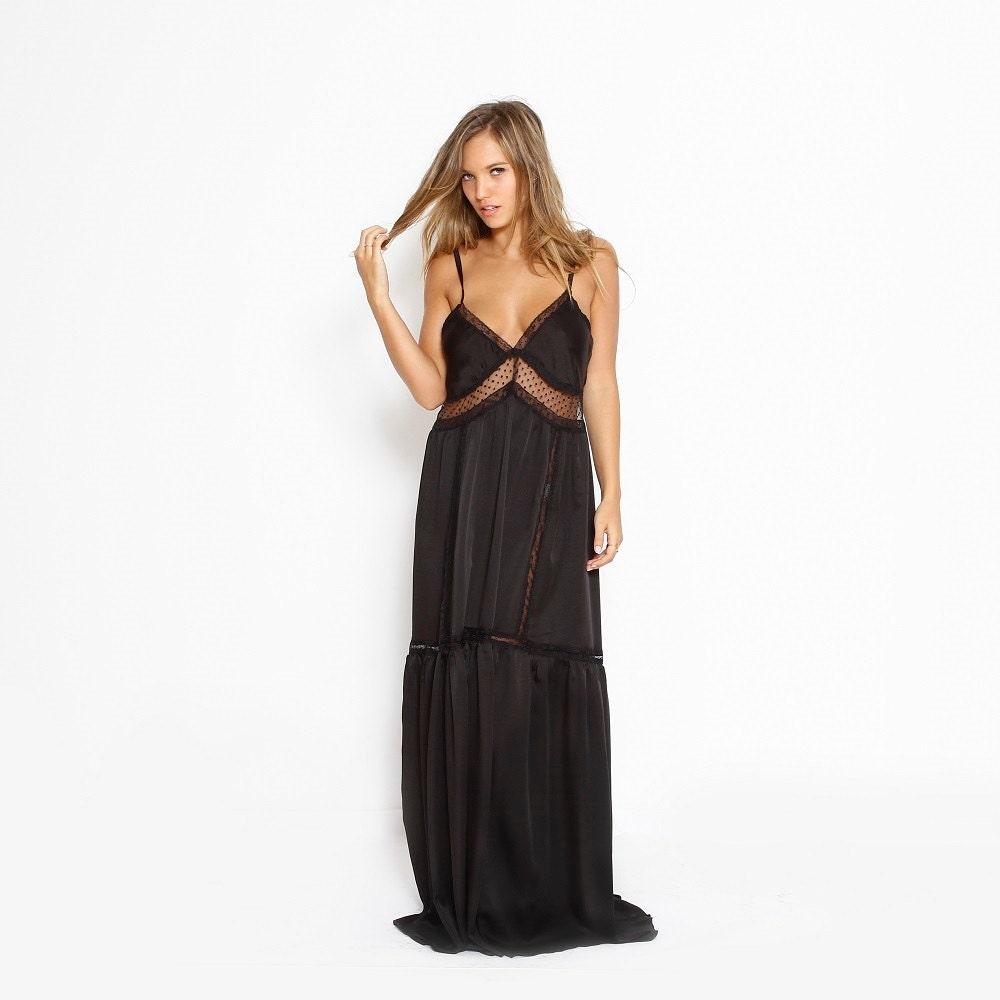 Black Boho Bridesmaid Dress Prom Dress Maxi Party Dress