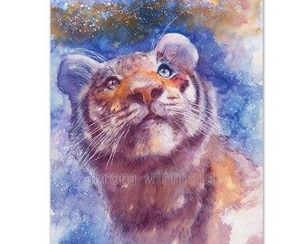 Waiting for the stars - LIMITED PRINT - only 25 pieces worldwide !! HANDSIGNED fine art print from watercolor (Tiger, Big Cat, Feline) a4