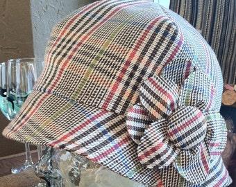 Hat in Glen Plaid Wool Mix