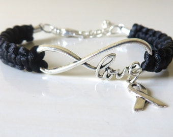 Melanoma LOVE Black Awareness Charm Bracelet with Optional Hand Stamped Alphabet Letter Charm