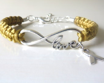 Childhood Cancer Gold Awareness Bracelet with Optional Hand Stamped Letter Initial Charm