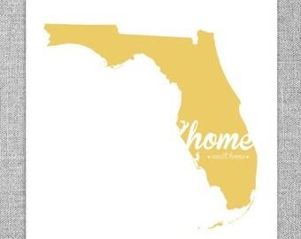 "Florida ""Home Sweet Home"" Print - Home Decor - Modern Wall Print - Housewarming Gift, Going Away Gift, Wall Art, Typographic Print"