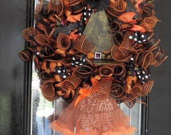 Pre-Order Deluxe Wicked Witch Halloween Wreath, Halloween Decoration, Halloween Door Hanger