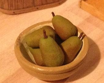Dollhouse Miniature Food - Miniature polymer clay pears