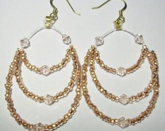 Triple Loop Peach Glass & Crystal Earrings