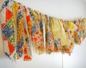Vintage Sheet Garland - Yellow, Orange, Green, Blue, White Floral and Patchwork