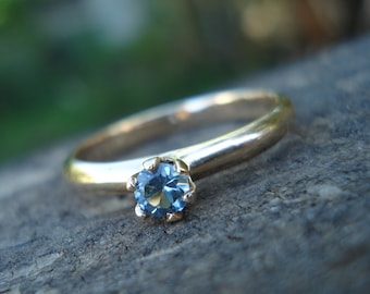 Beautiful blue sapphire ring, handmade engagement ring, blue sapphire engagement ring, yellow gold, conflict free gem, ethical gold and gems