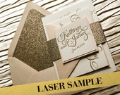Blush & Gold Glitter Wedding Invitation, Gold Glitter Wedding Invite, Calligraphy Invitation, Gold Invitation - Laser Sample Set
