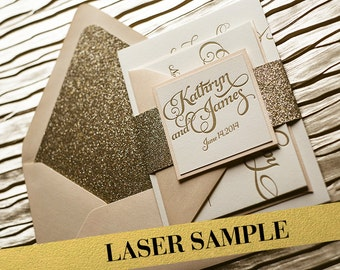 Blush & Gold Glitter Wedding Invitation, Gold Glitter Wedding Invite, Calligraphy Invitation, Gold Invitation - Laser Sample Set