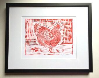 Chicken Linocut