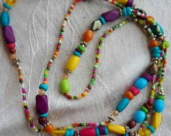 SALE *** Handmade One line colorfull long necklace *** SALE ***