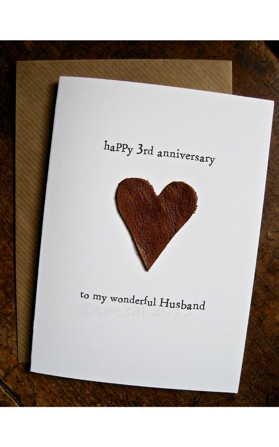 3rd Wedding Anniversary Card HUSBAND Traditional gift LEATHER Handmade ...