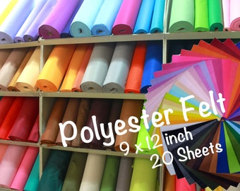 20 pieces 9x12' Polyester Felt Sheet Pack|140 colors|1mm|W|SW|1-138
