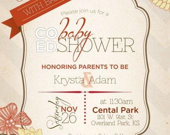 Co-ed Fall baby shower invitation