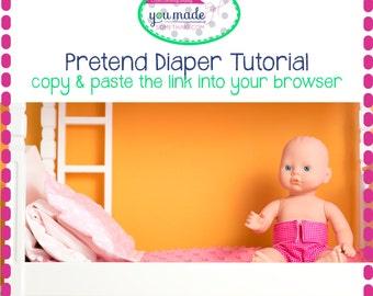 Free Pretend Doll Diaper Video Tutorial & Pattern