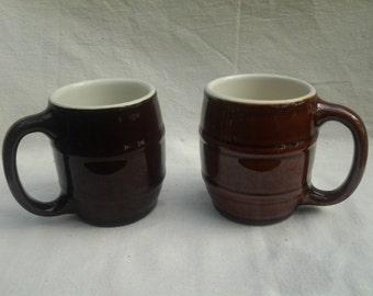Hall Barrel Mugs One Dark One Medium Dark, Dark Roast Coffee, Medium Roast Coffee, sold singly