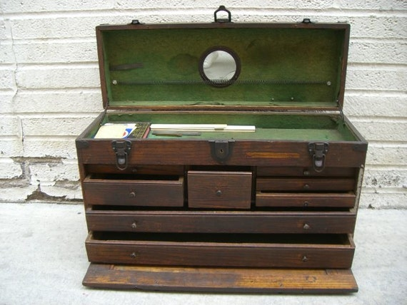 Antique rustic tiger oak wood machinist tool chest with