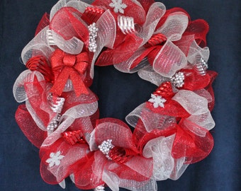 Red and Silver Deco Mesh Holiday Wreath