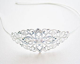 2 Silver Plated Headband with Filigree Flower 78x35mm Pad.