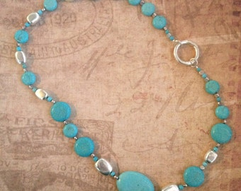 Turquoise/Silver Asymmetrical Necklace