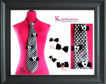 Original necktie hearts, black and white, Kawai, monkey, youth gift