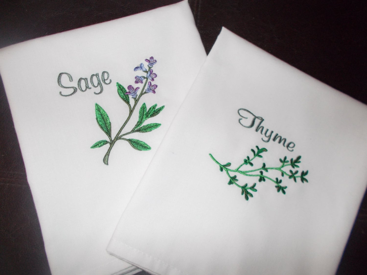 Machine embroidered kitchen towels