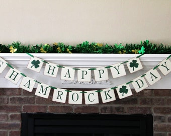 Happy Shamrock Day Banner St. Patricks Banner Spring Banner Irish Banner Irish Decor Irish Decoration