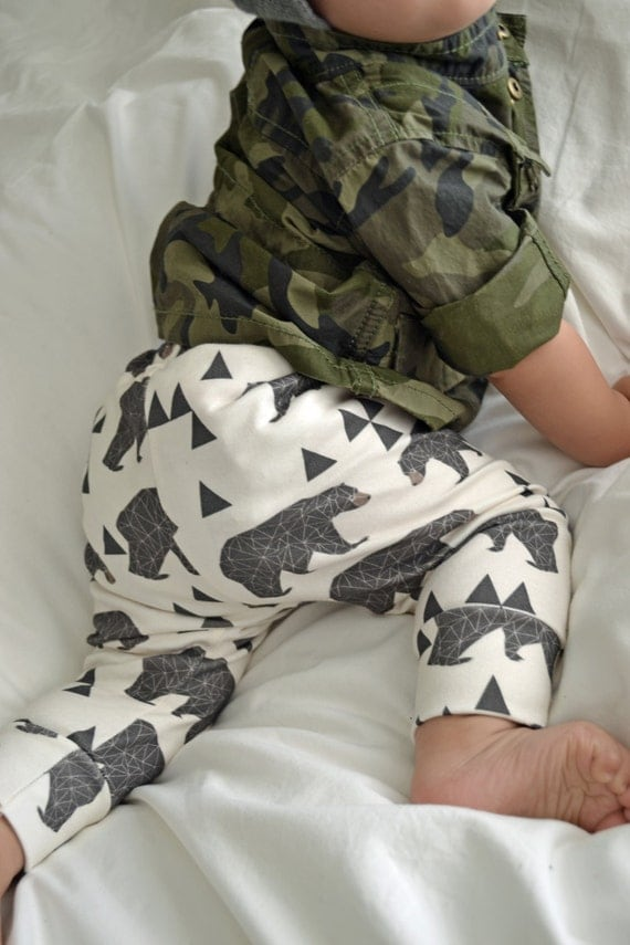 Organic cotton leggings in geometric bear baby by for Unisex baby fabric