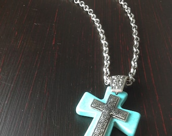 Cross necklace with turquoise stone, small metal cross silver, 1.7x2.2 inches Large silver chain colored metal