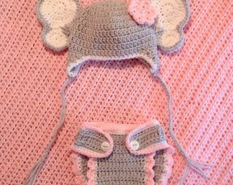 Elephant Hat and Diaper a Cover Set
