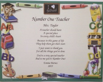 Gift for Teacher, Personalized Gift, Number One Teacher Poem, Teacher Gift, Favorite Teacher, Gift Print, 2017 End of School Year Gift