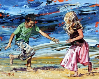 "8""x10"", 12""x15"", art print, original art, impressionist painting, 'Catch Me If You Can', Nursery Art, Beach Art, Gift for anyone"